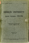 The Seventy-Third Annual Catalogue of Denison University for the year 1903-1904