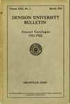 The Ninety-first Annual Catalogue of Denison University for the year 1921-1922