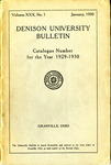 Denison University Bulletin Catalogue Number for the year 1929-1930