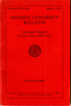 Denison University Bulletin Catalogue Number for the year 1930-1931