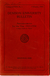 Denison University Bulletin Announcements for the year 1933-1934 Catalogue Number for 1932-1933