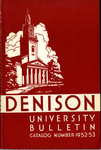 Bulletin of Denison University Granville, Ohio 1952-1953