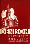 Denison University Bulletin, Granville, Ohio 1954-1955
