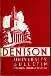 Denison University Bulletin, Granville, Ohio 1958-1960, 128th and 129th Academic Years